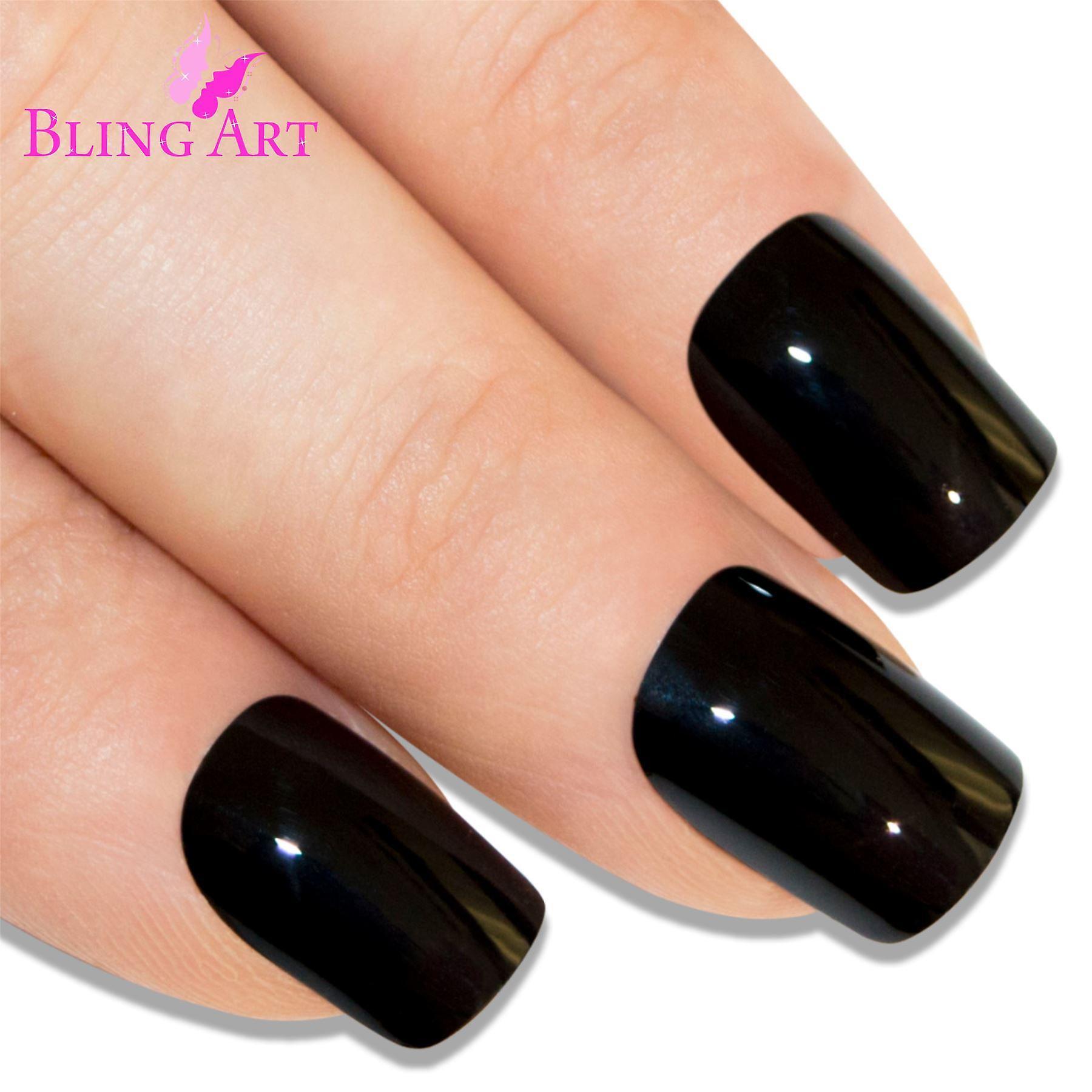 False nails bling art black polished french manicure fake medium tips with glue