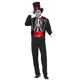 Aikuisten miesten päivä kuolleiden Halloween Fancy mekko puku