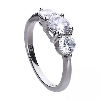 Diamonfire Silver White Zirconia Centre Stone Ring R3657