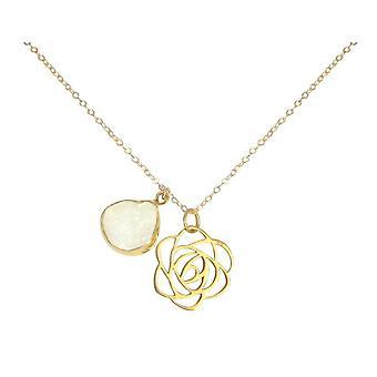 GEMSHINE halskjede agat Druse drop ART DECO Flower 925 sølv eller gullbelagt