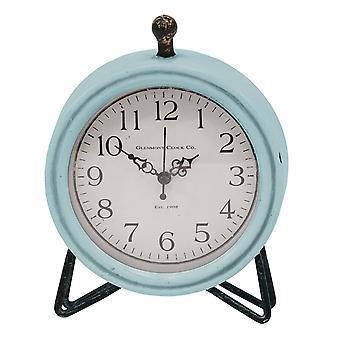 Blue Metal & Wood Table Clock
