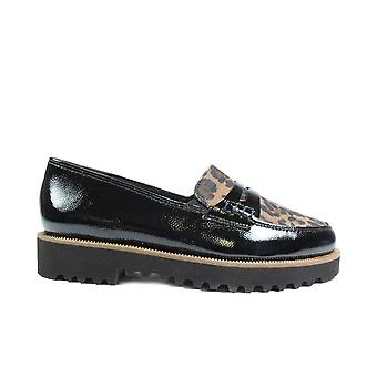Paul Green 1011-14 Black Patent/Leopard Print Suede Leather Womens Slip On Loafer Shoes