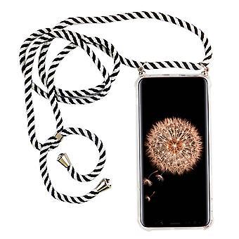 Telefon kjede for Samsung Galaxy S9-Smartphone halskjede veske med band-Cord med sak å henge i svart