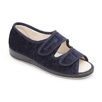 Padders Lydia Ladies Microsuede Extra Wide (2e) Sandal Slippers Navy