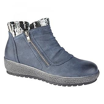 Cipriata Gina Ladies Knitted Collar Zip Up Ankle Boots Navy