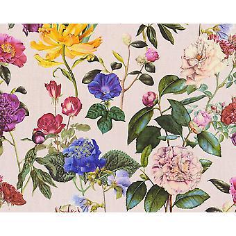 Floral Roses Non-Woven Vinyl Wallpaper Garden Vintage Retro Pink Textured