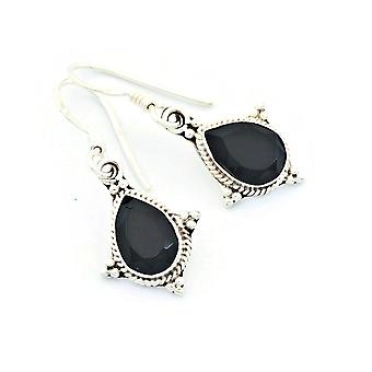 Onyx Ohrringe 925 Silber Sterlingsilber Ohrhänger schwarz (KLE-OH-097)