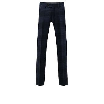 Dobell Mens Blue Tartan Tweed Spodnie Regularne Dopasowanie