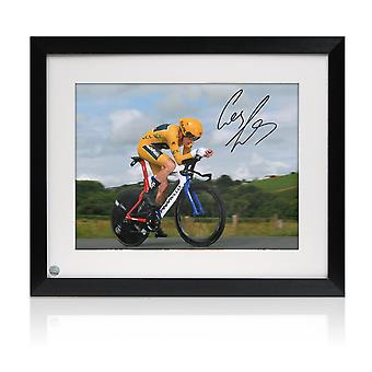 Geraint Thomas Signed Tour De France Photo: Time Trial Framed