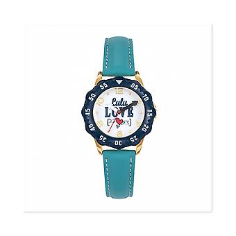 Watch Lulu Castagnette 38863 - P tale Bo tier Steel Dor Leather Bracelet Blue Blackhead White Junior