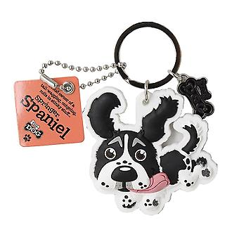 Wags & Whiskers Keyring - Springer Spaniel Black & White