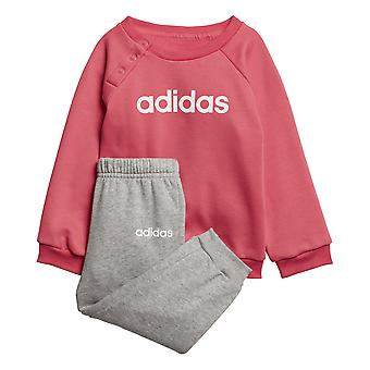 Adidas Infant Linear Fleece Jogger Set Pink And Grey