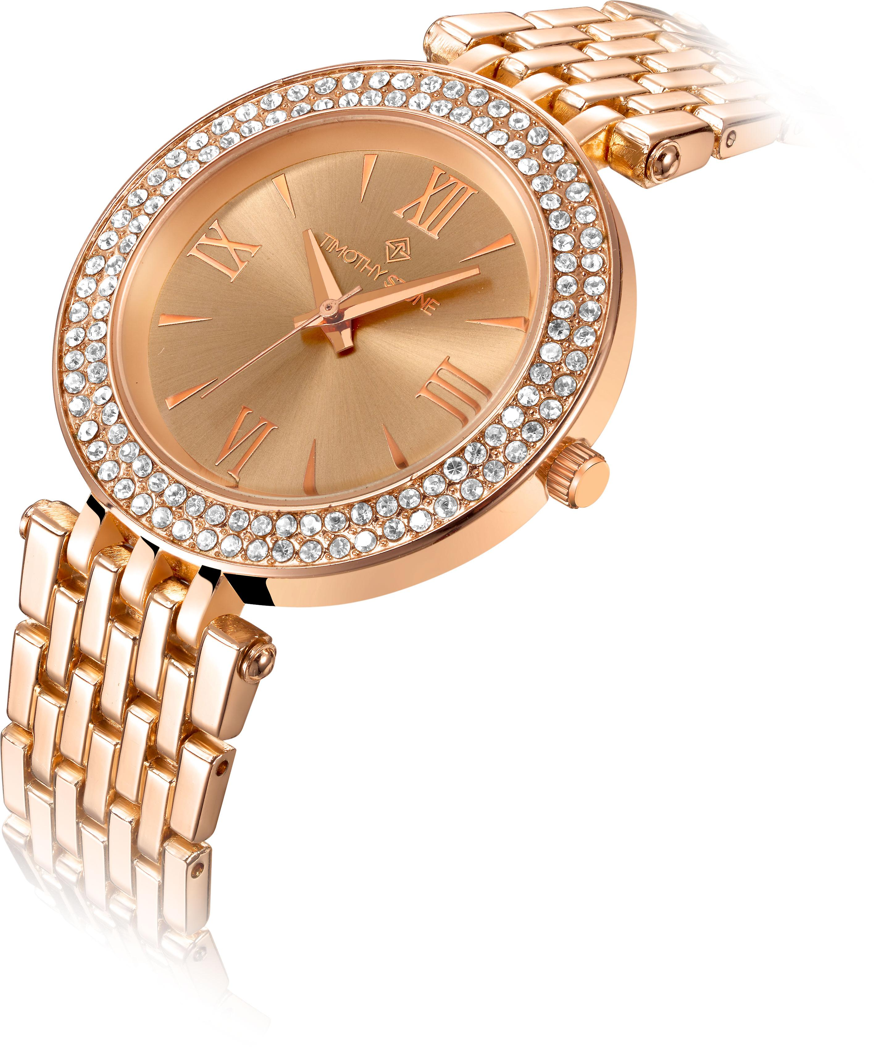 Timothy Stone Watches for Women Rose Gold Tone Crystal-Accented
