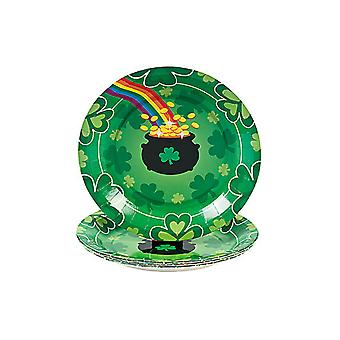SALE - 8 St Patricks Day Shamrock Small Paper Party Plates