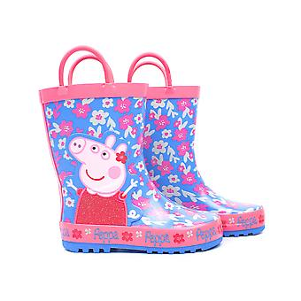 Peppa Pig Wellies Flower Girl's Easy-On Handles Pink Blue Rain Welly Boots