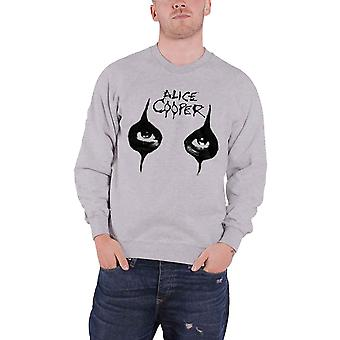 Alice Cooper Distressed Eyes Logo Sketch Official Mens New Grey Sweatshirt