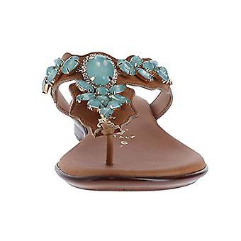 Italian Shoemakers Laila Damiani Luggage/Aqua Womens Thong Size