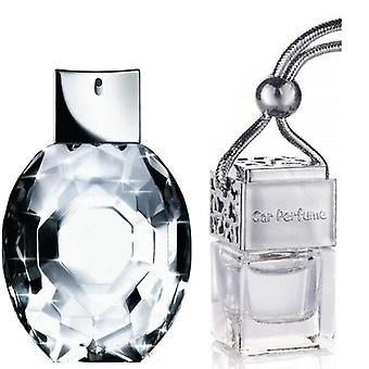 Armani Diamonds For Her Inspired Fragrance 8ml Chrome Lid Bottle Hanging Car Vehicle Auto Air Freshener