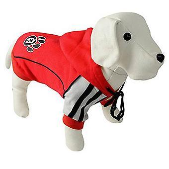 Nayeco röd hund Hooded fotavtryck 80 cm (hundar, hundkläder, tröjor och hoodies)