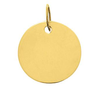 Pendentif plaque ronde Or 375/1000 jaune  (9K)