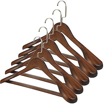 TRIXES 5PC Wooden Hangers Clothes Suits Coats Stylish Dark Oak with Trouser Bar