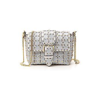 Red Valentino Tq2b0b65lfb15j Women's Silver Leather Shoulder Bag