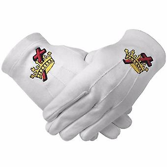 Masonic knight templar kt 100% cotton machine embroidery white glove