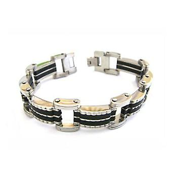 Jakob Strauss Gents Stainless Steel Double Row Black 8.25
