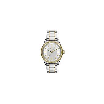 Armani Exchange Ladies 'Nicolette' Silver Dial Stone Set Bezel 2 Colour Bracelet Watch AX5446