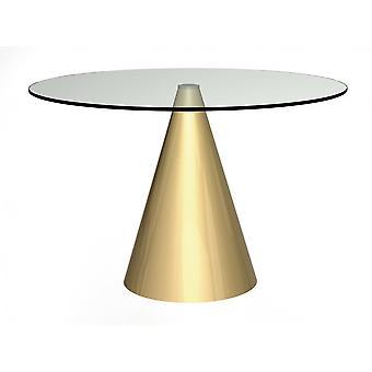 Gillmore mesa de comedor redonda de cristal transparente con base de latón cónico