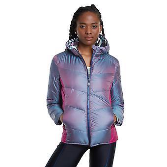 Desigual Women's Reversible Padded Studio Lightweight Jacket Silver Pastels Irredescent