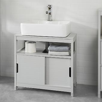 SoBuy Unterspüle Badezimmer Ablageschrank mit Regal und Doppelschiebetür, FRG128-HG