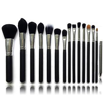 15 stk. svart/sølv sminke/makeup børster av beste kvalitet