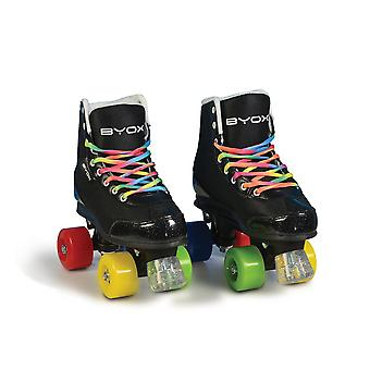 Byox roller skates Rainbow black PU wheels, ABEC-5 bearings, stopper, different Sizes