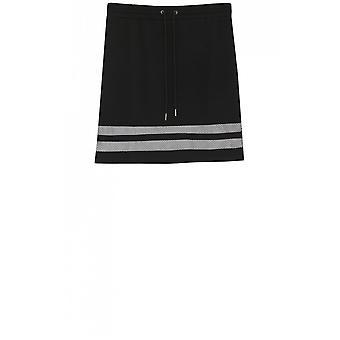 Yest Black Striped Panel Skirt