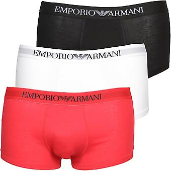 Emporio Armani 3-Pack Pure Cotton Boxer Trunks, Red/White/Black