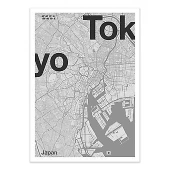 Art-Poster - Tokyo Minimalistisk karta - Florent Bodart