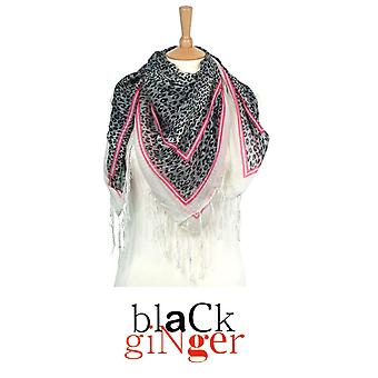 """Black Ginger"" Square Grey Animal Print Scarf with Tassles"