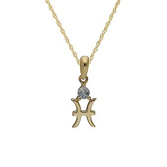 Aquamarine Vissen Zodiac Charm Ketting in 9ct Yellow Gold 135P2006019