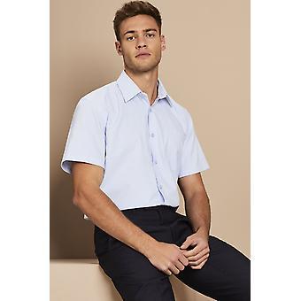 SIMON JERSEY Men's Short Sleeve Oxford Shirt, Blue