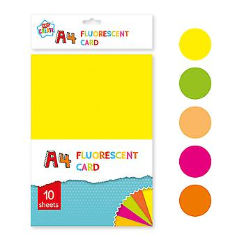 10 Sheets A4 Assorted Fluorescent Coloured Card