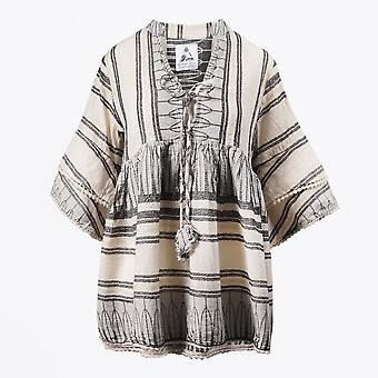 Pearl & Caviar  - Stripe Gold Thread Blouse - Black/Cream