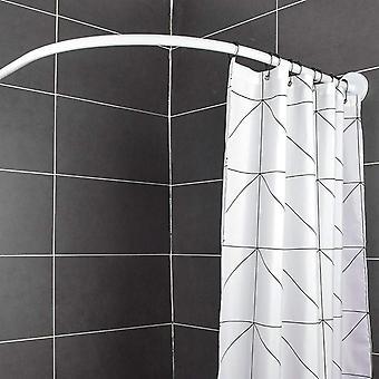 L Shape Stainless Steel Extendable Corner Shower Curtain Rod, Pole For Bathroom