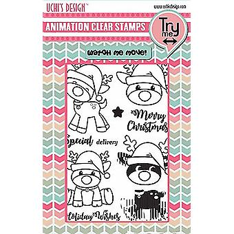 Uchi's Design Animation Clear Stamps and Dies Christmas Fun