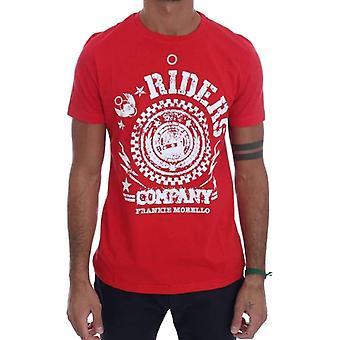 Red Cotton RIDERS Crewneck T-Shirt -- TSH1757744