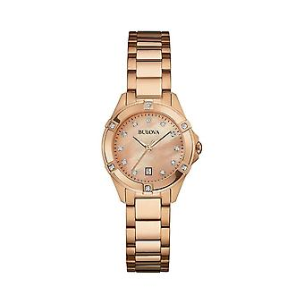 Bulova Watches 97w101 Diamond Rose Gold Stainless Steel Ladies Watch