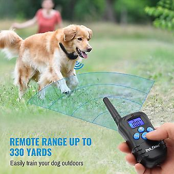 Petrainer 300m Remote Electric Dog Collar - Shock Vibration Rechargeable Rainproof Dog Training Collar With Lcd Display
