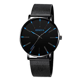 Geneva Quartz Watch - Anologue Luxury Movement for Men and Women - Stainless Steel - Black-Blue