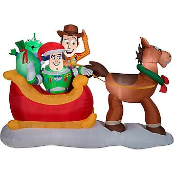 Gemmy Christmas Inflatable Airblown Toy Story Gang With Sleigh, 8ft.l X 5ft.2in.h