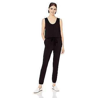 Daily Ritual Women's Supersoft Terry Sleeveless Jumpsuit, Black,Large